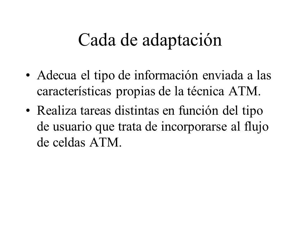 Cada de adaptación Adecua el tipo de información enviada a las características propias de la técnica ATM.
