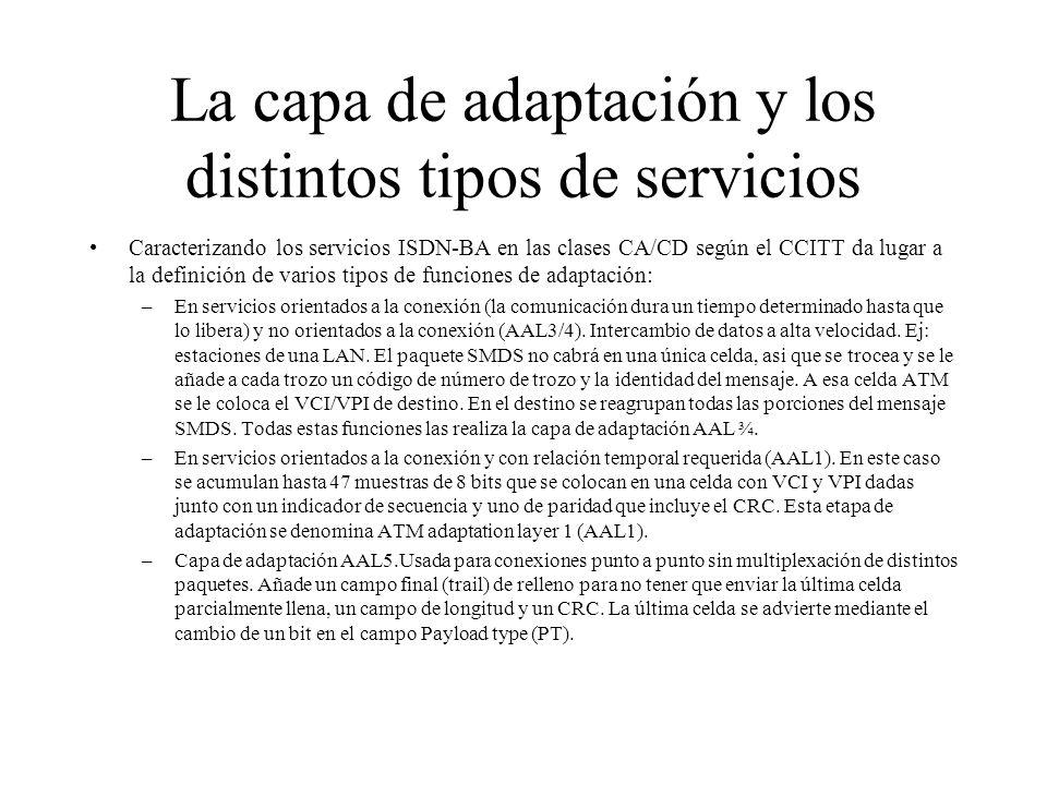 La capa de adaptación y los distintos tipos de servicios