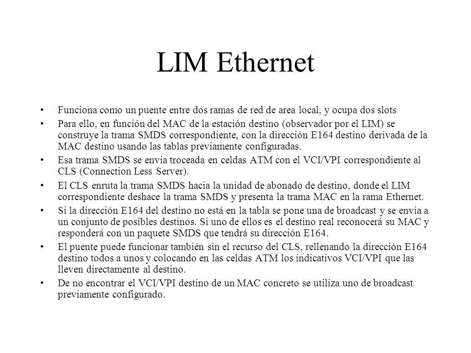 LIM Ethernet Funciona como un puente entre dos ramas de red de area local, y ocupa dos slots.