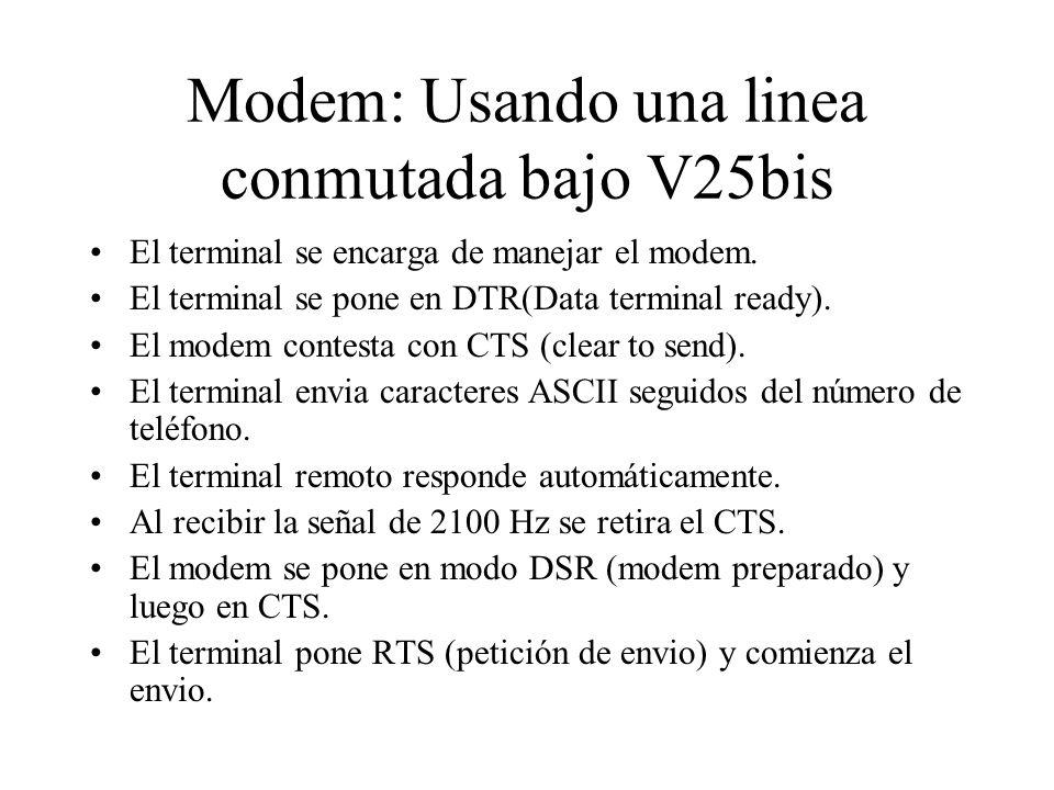 Modem: Usando una linea conmutada bajo V25bis