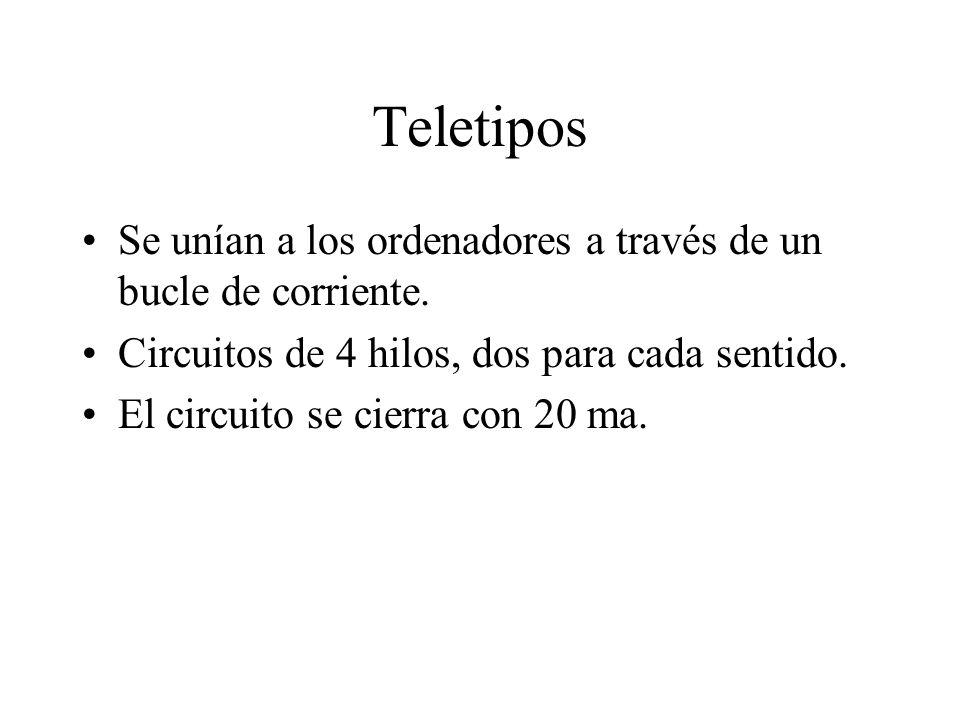 Teletipos Se unían a los ordenadores a través de un bucle de corriente. Circuitos de 4 hilos, dos para cada sentido.