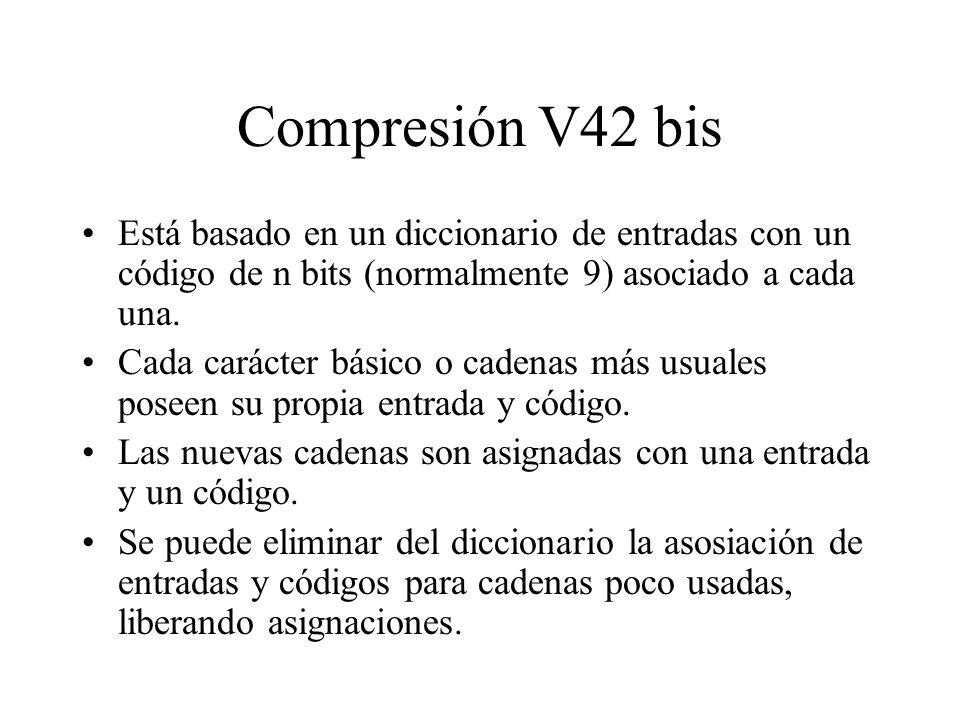 Compresión V42 bis Está basado en un diccionario de entradas con un código de n bits (normalmente 9) asociado a cada una.