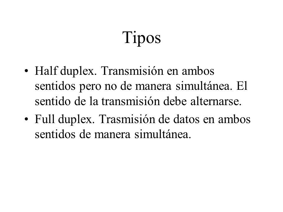 Tipos Half duplex. Transmisión en ambos sentidos pero no de manera simultánea. El sentido de la transmisión debe alternarse.