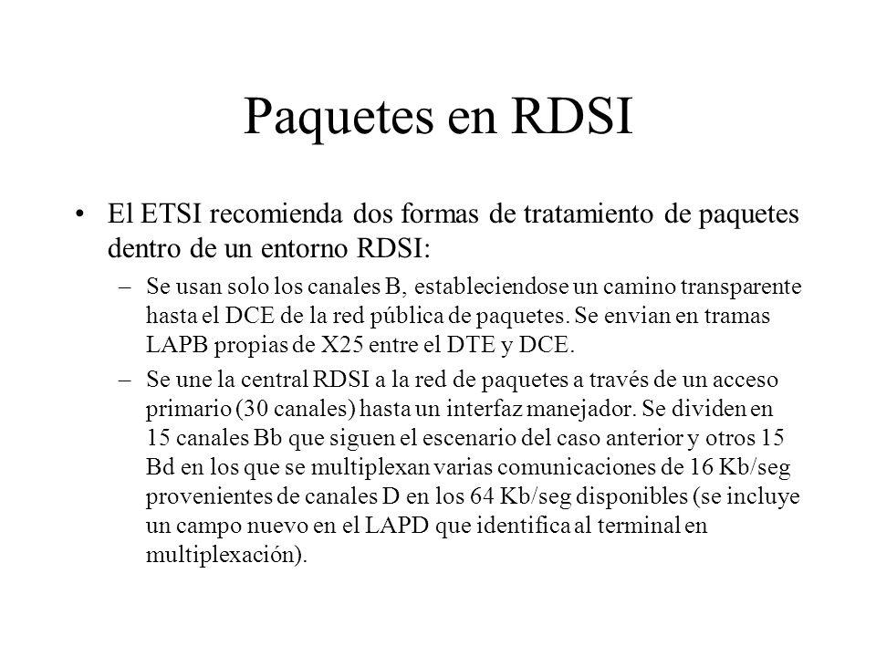Paquetes en RDSI El ETSI recomienda dos formas de tratamiento de paquetes dentro de un entorno RDSI: