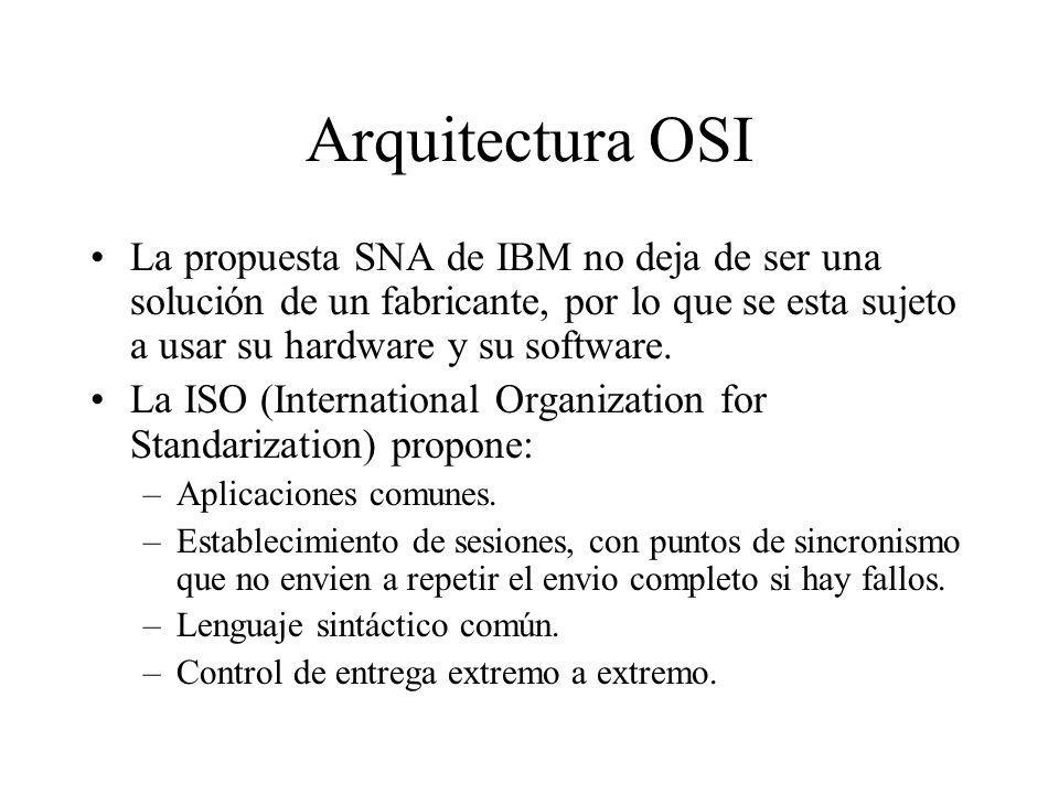 Arquitectura OSI La propuesta SNA de IBM no deja de ser una solución de un fabricante, por lo que se esta sujeto a usar su hardware y su software.