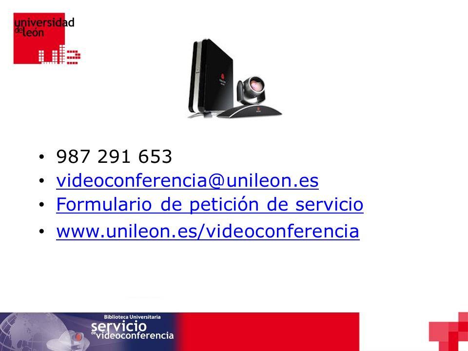 987 291 653 videoconferencia@unileon.es. Formulario de petición de servicio.