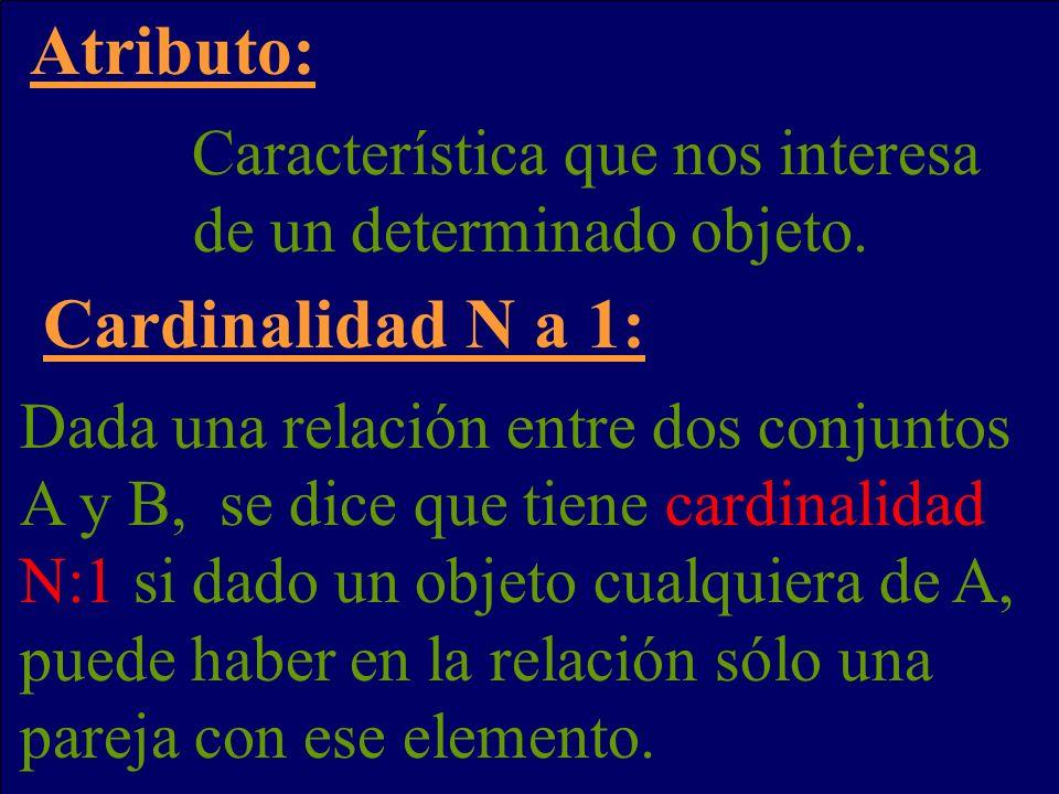 Atributo: Cardinalidad N a 1: