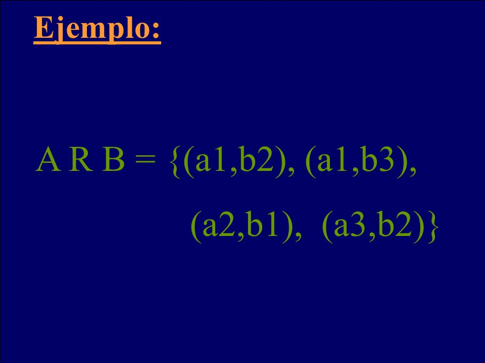 Ejemplo: A R B = {(a1,b2), (a1,b3), (a2,b1), (a3,b2)}