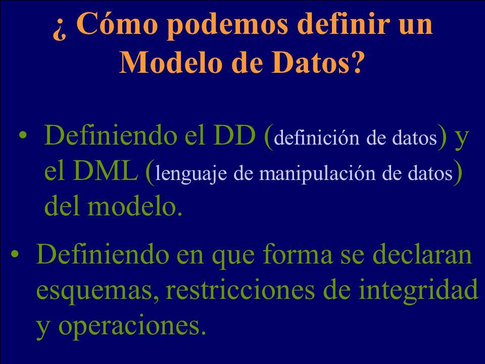 ¿ Cómo podemos definir un Modelo de Datos