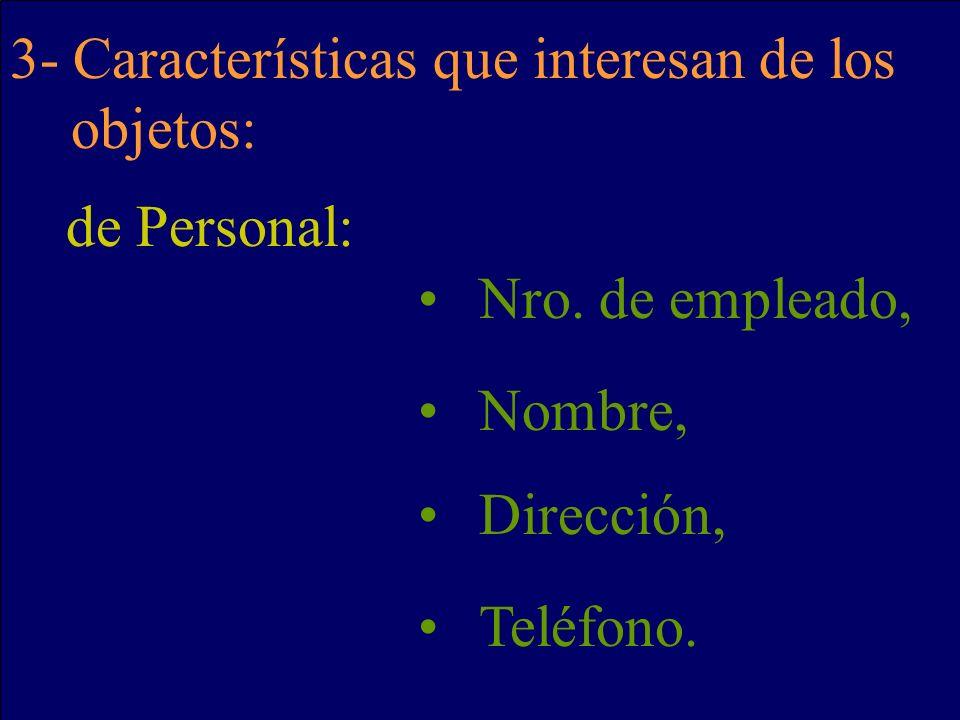 3- Características que interesan de los objetos: