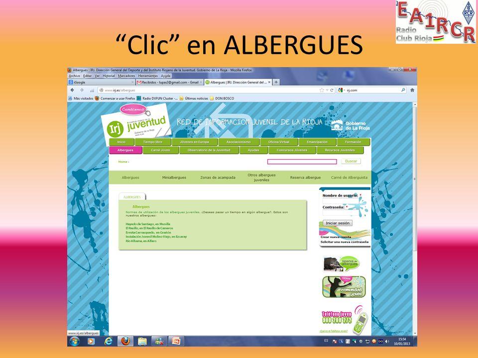Clic en ALBERGUES