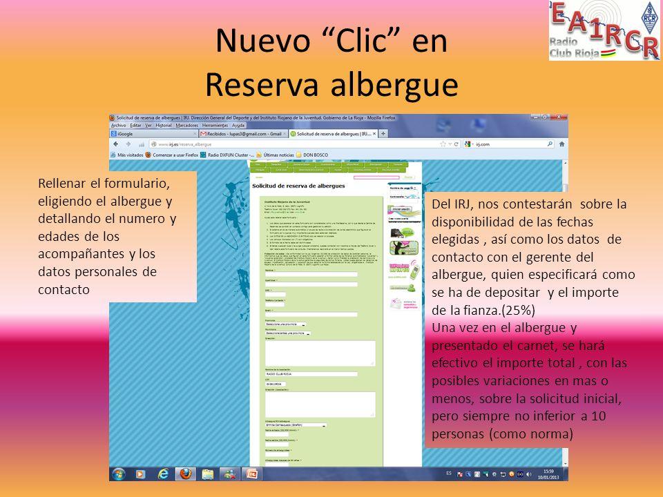 Nuevo Clic en Reserva albergue