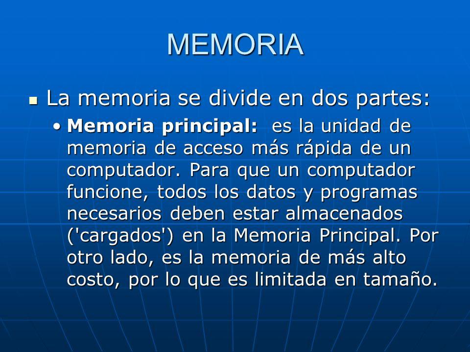 MEMORIA La memoria se divide en dos partes: