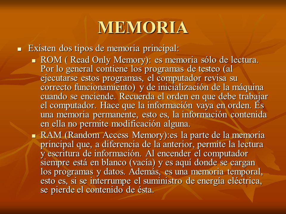 MEMORIA Existen dos tipos de memoria principal: