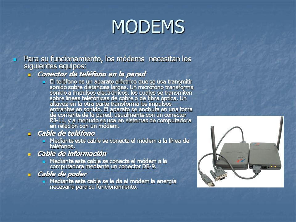 MODEMSPara su funcionamiento, los módems necesitan los siguientes equipos: Conector de teléfono en la pared.