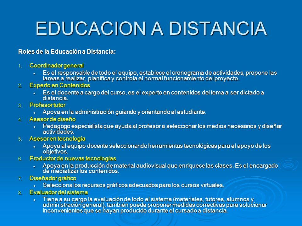 EDUCACION A DISTANCIA Roles de la Educación a Distancia: