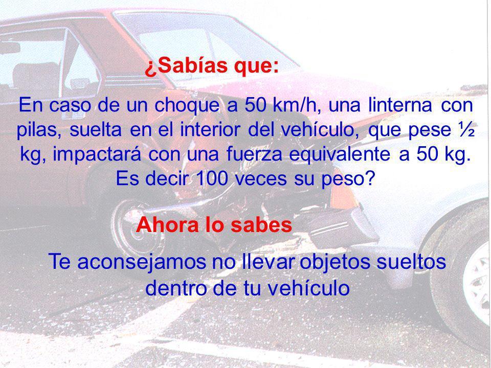 Te aconsejamos no llevar objetos sueltos dentro de tu vehículo
