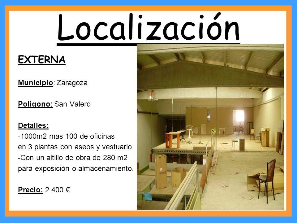 Localización EXTERNA Municipio: Zaragoza Polígono: San Valero