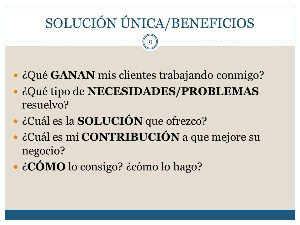SOLUCIÓN ÚNICA/BENEFICIOS