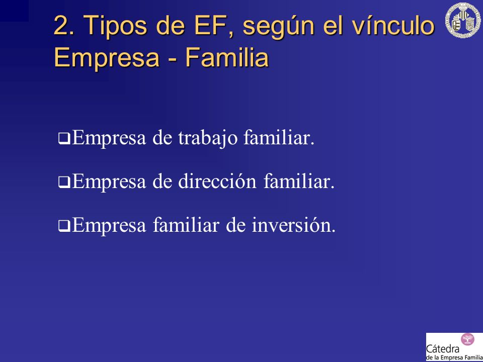 2. Tipos de EF, según el vínculo Empresa - Familia