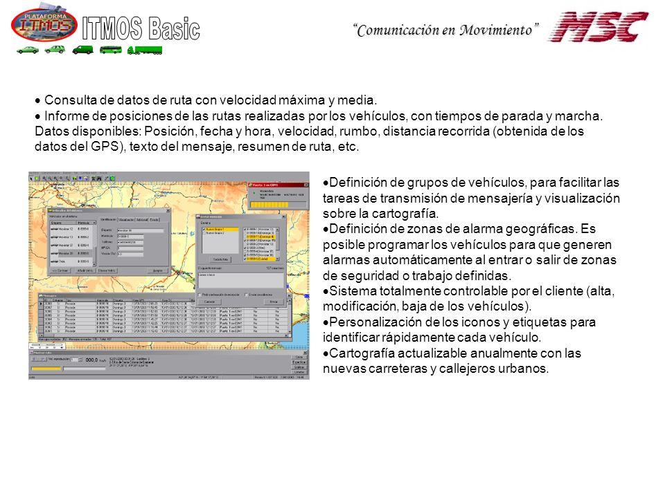Consulta de datos de ruta con velocidad máxima y media.