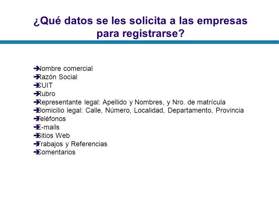 ¿Qué datos se les solicita a las empresas para registrarse