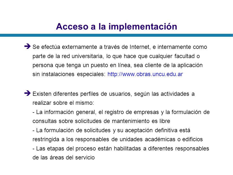 Acceso a la implementación