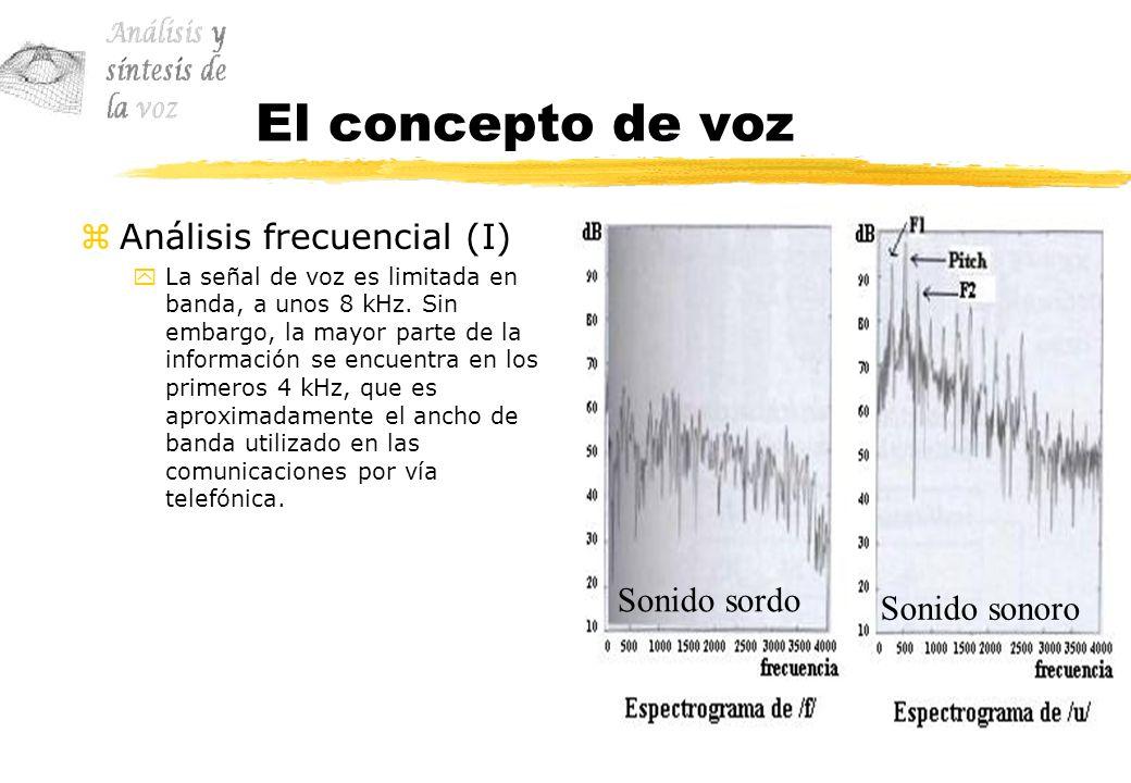 El concepto de voz Análisis frecuencial (I) Sonido sordo Sonido sonoro