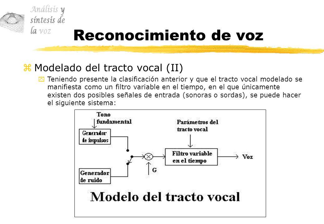 Reconocimiento de voz Modelado del tracto vocal (II)