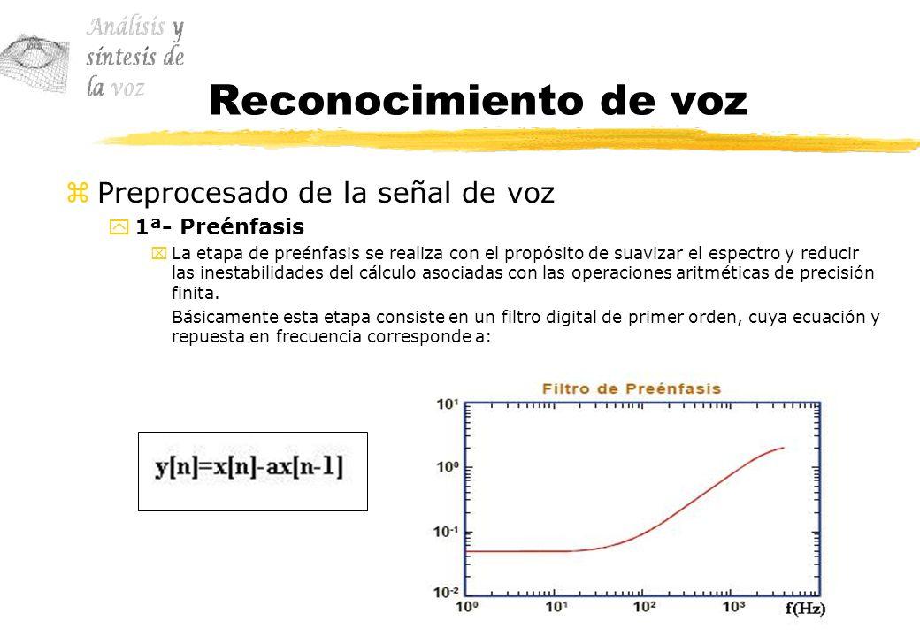 Reconocimiento de voz Preprocesado de la señal de voz 1ª- Preénfasis