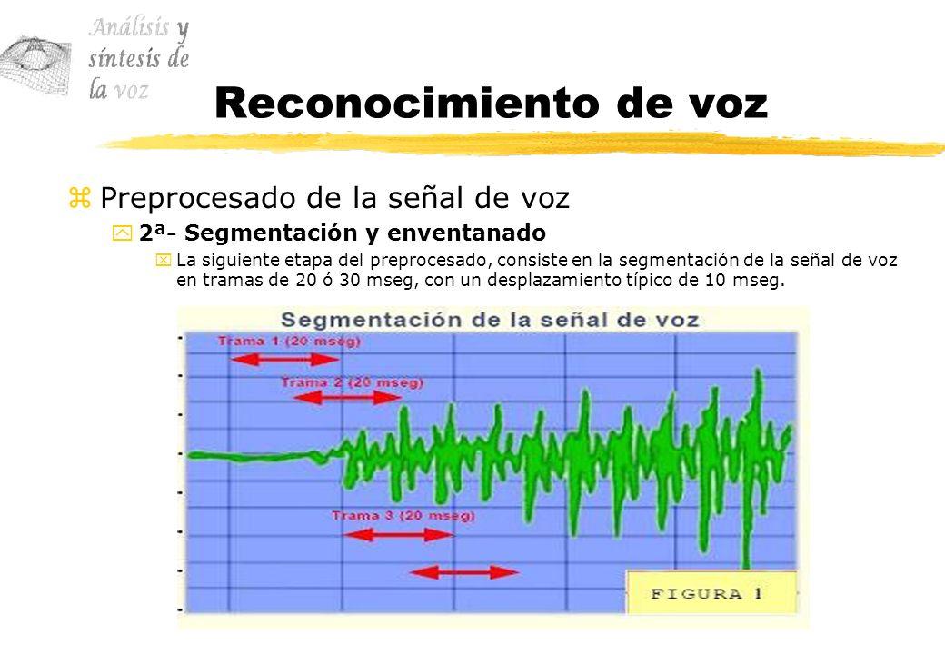 Reconocimiento de voz Preprocesado de la señal de voz