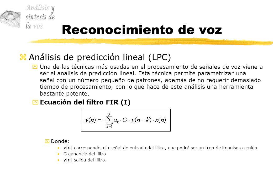 Reconocimiento de voz Análisis de predicción lineal (LPC)