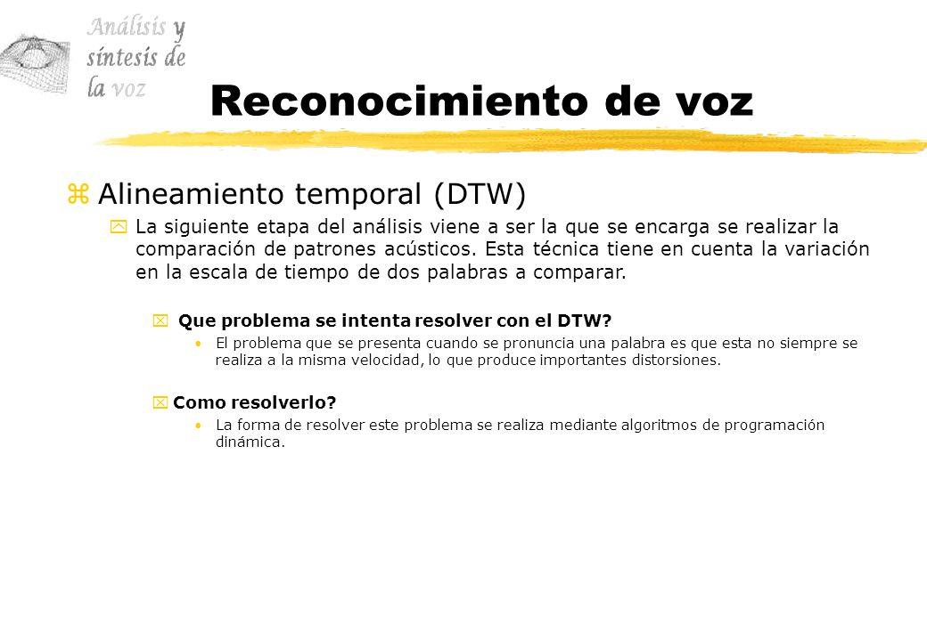 Reconocimiento de voz Alineamiento temporal (DTW)