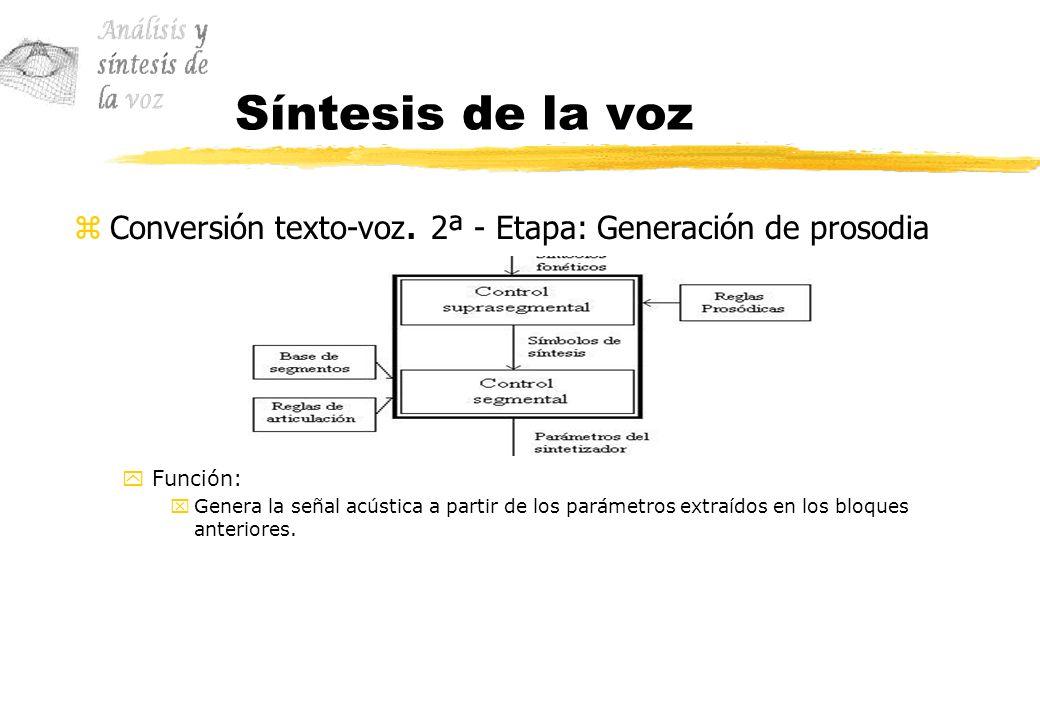 Síntesis de la voz Conversión texto-voz. 2ª - Etapa: Generación de prosodia. Función: