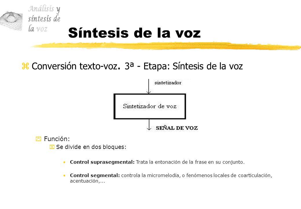 Síntesis de la voz Conversión texto-voz. 3ª - Etapa: Síntesis de la voz. Función: Se divide en dos bloques: