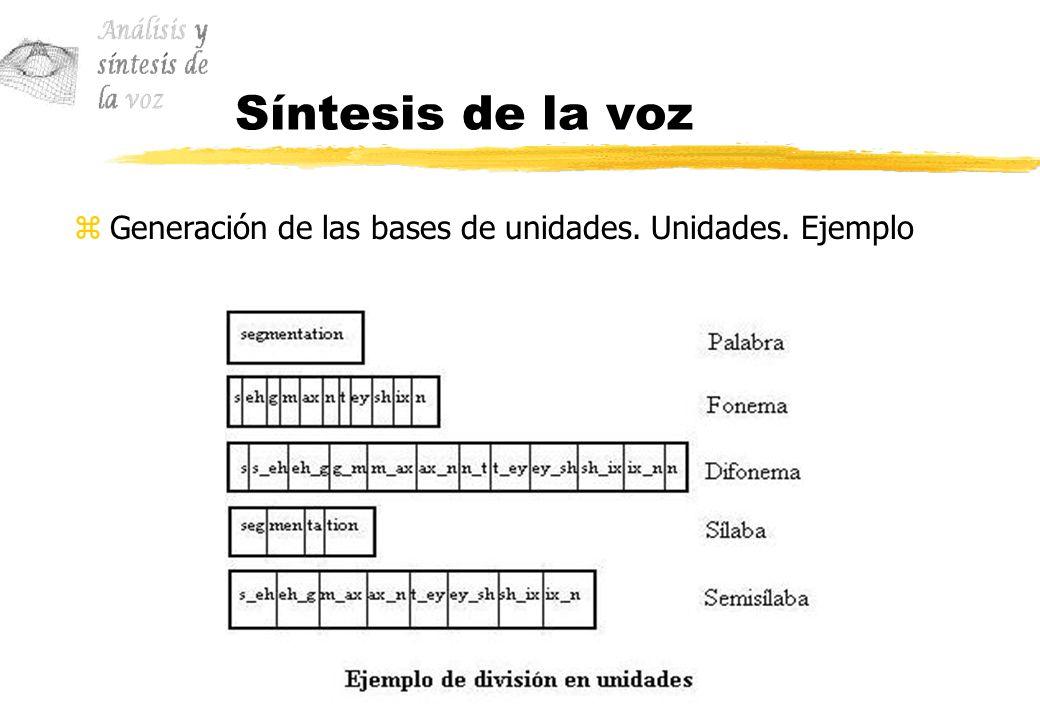 Síntesis de la voz Generación de las bases de unidades. Unidades. Ejemplo