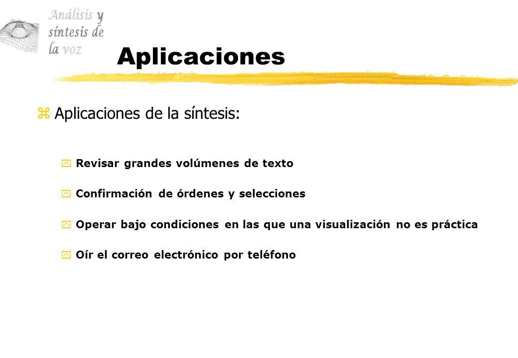 Aplicaciones Aplicaciones de la síntesis:
