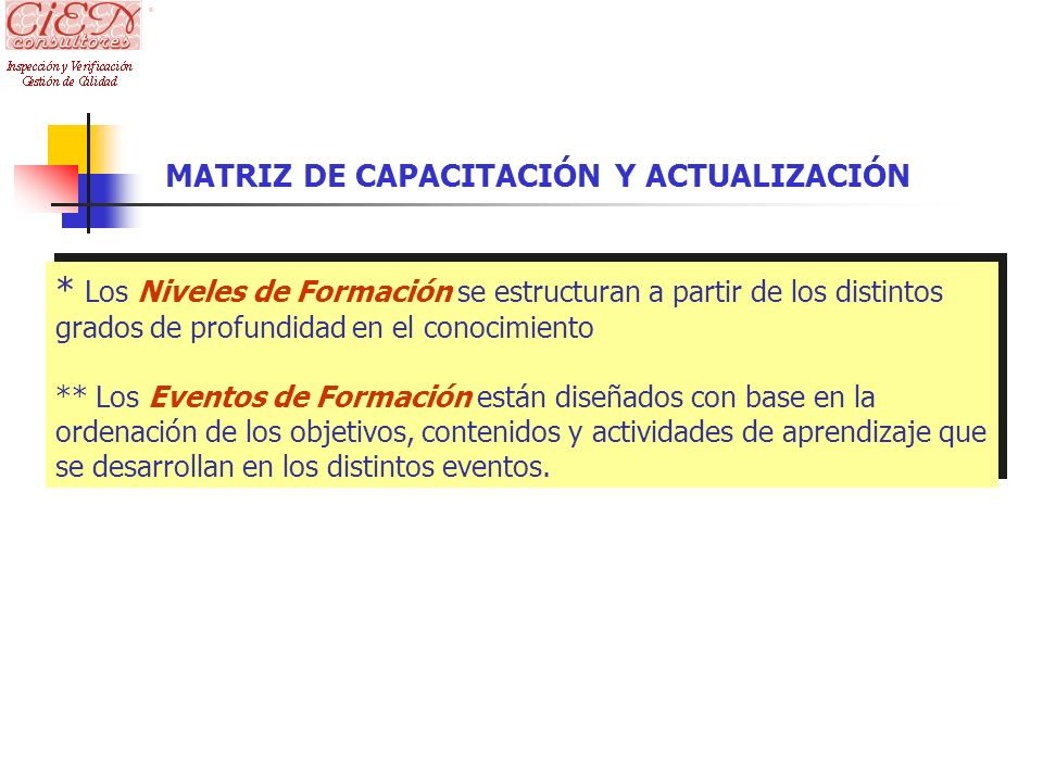 MATRIZ DE CAPACITACIÓN Y ACTUALIZACIÓN