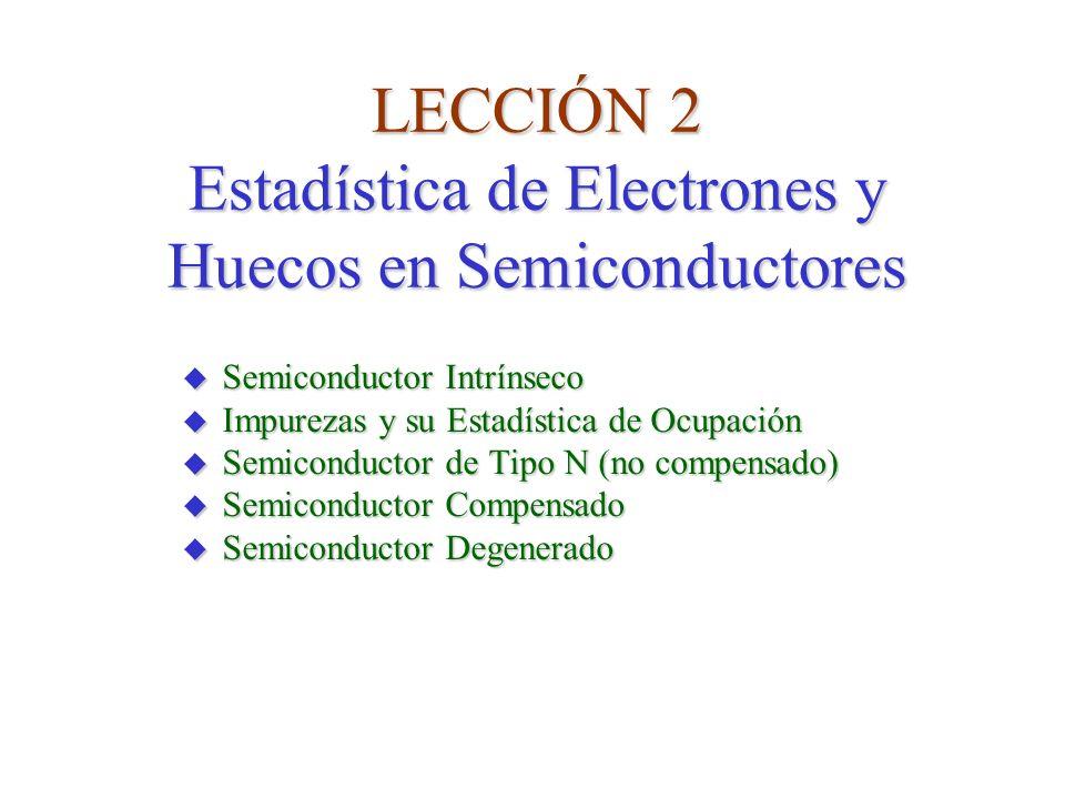 LECCIÓN 2 Estadística de Electrones y Huecos en Semiconductores