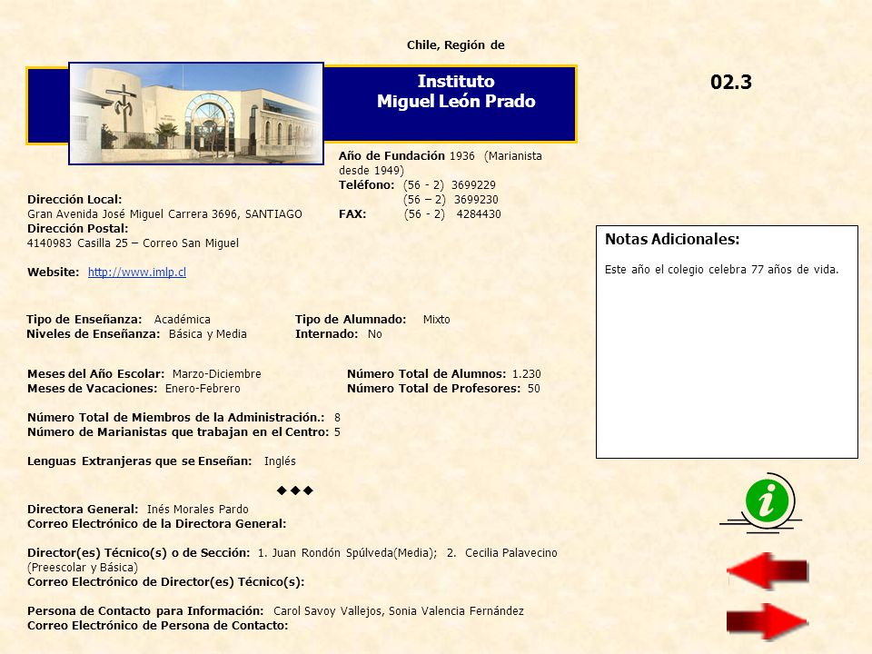 02.3 Instituto Miguel León Prado  Notas Adicionales: