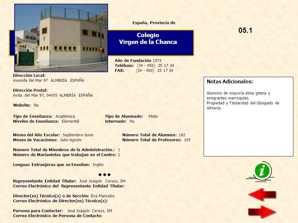 05.1 Colegio Virgen de la Chanca  Notas Adicionales: