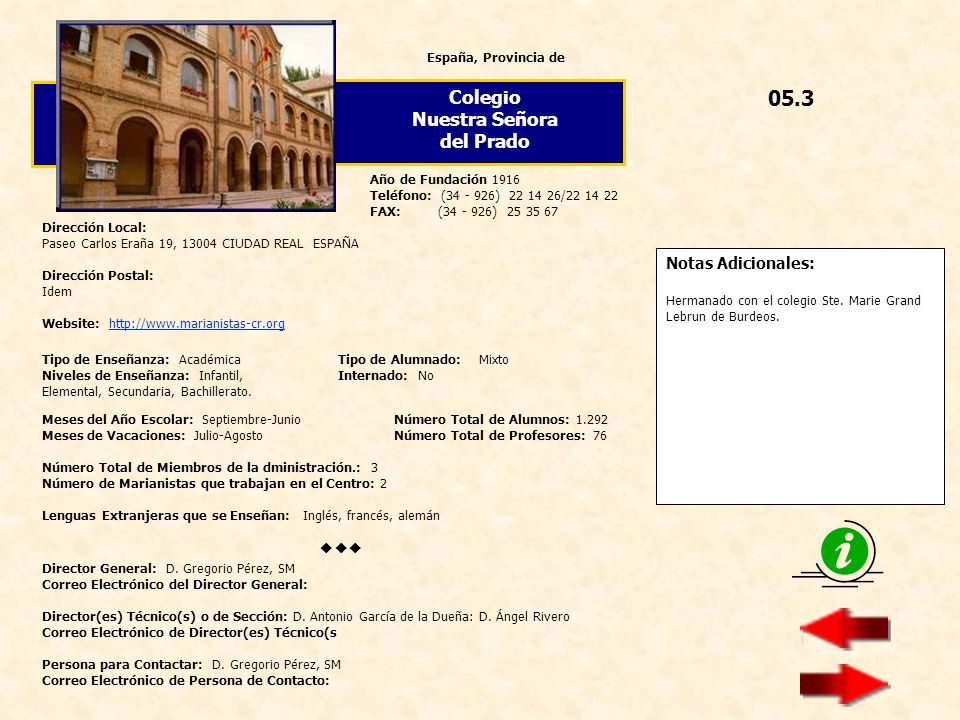 05.3 Colegio Nuestra Señora del Prado  Notas Adicionales: