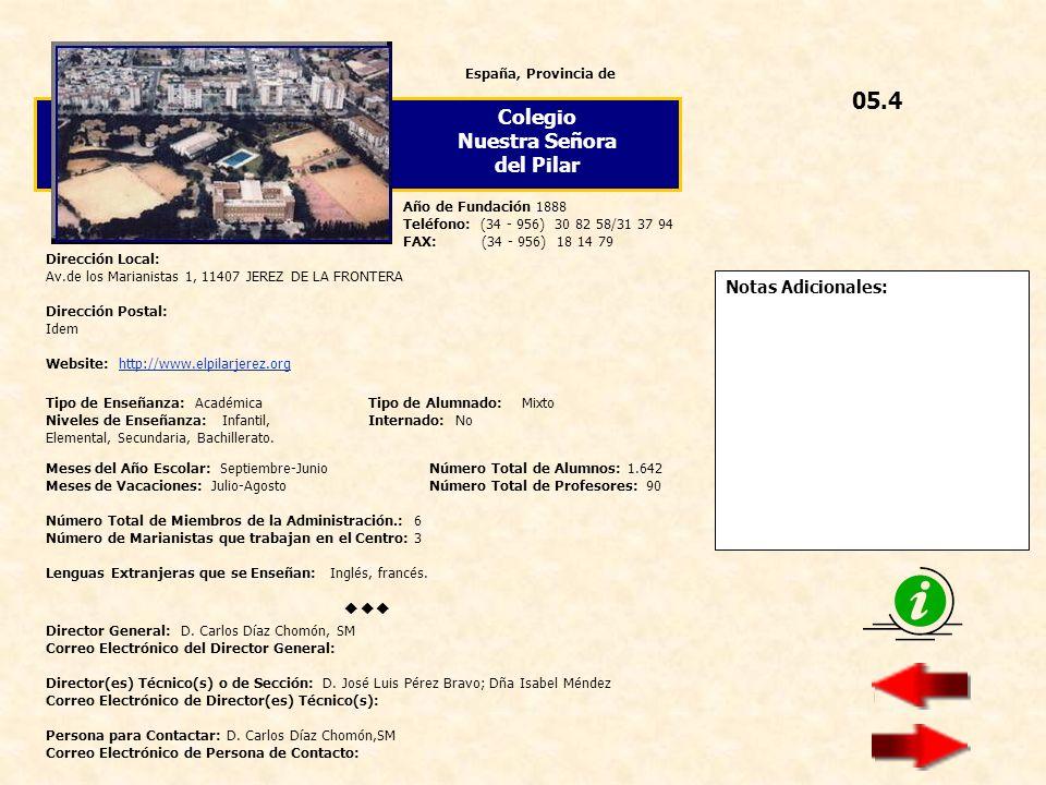 05.4 Colegio Nuestra Señora del Pilar  Notas Adicionales: