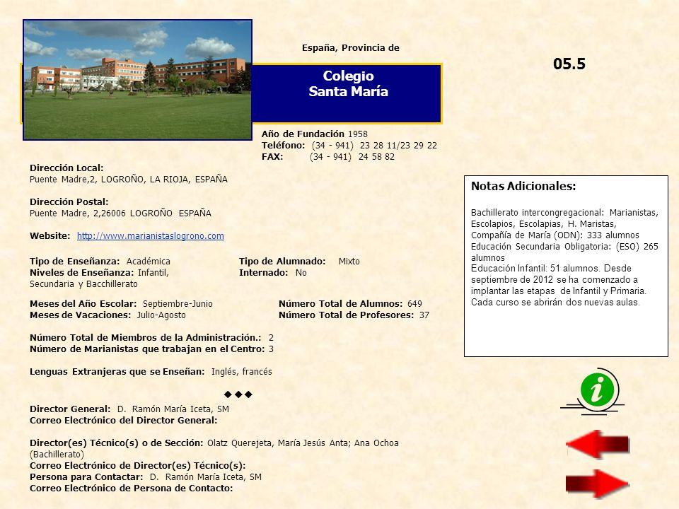 05.5 Colegio Santa María  Notas Adicionales: España, Provincia de