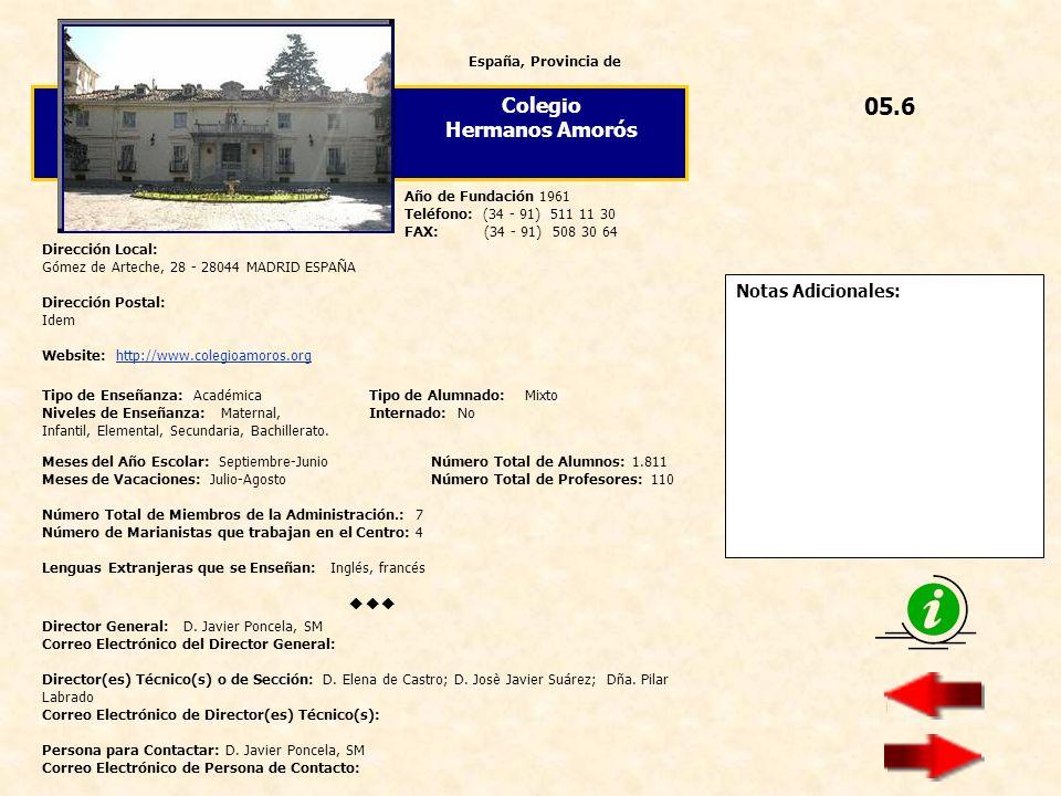 05.6 Colegio Hermanos Amorós  Notas Adicionales: