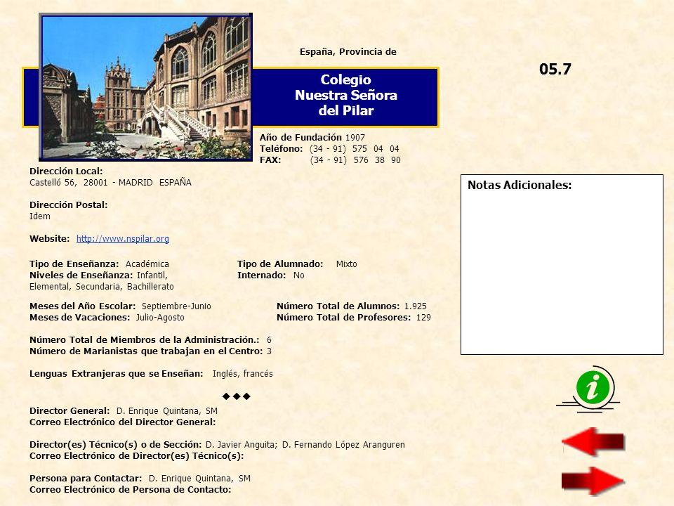 05.7 Colegio Nuestra Señora del Pilar  Notas Adicionales: