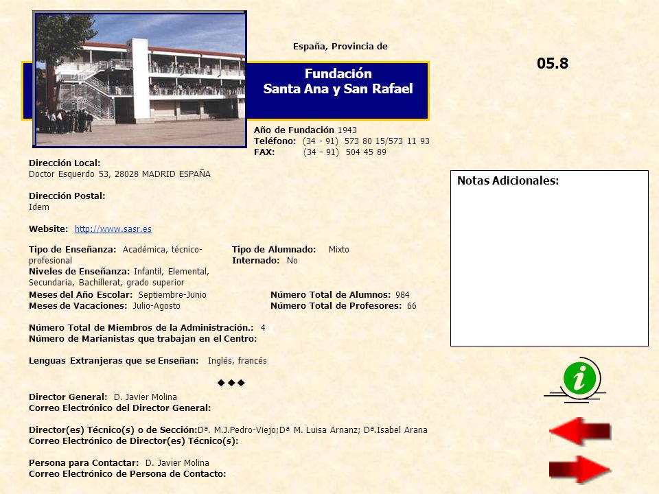 05.8 Fundación Santa Ana y San Rafael  Notas Adicionales: