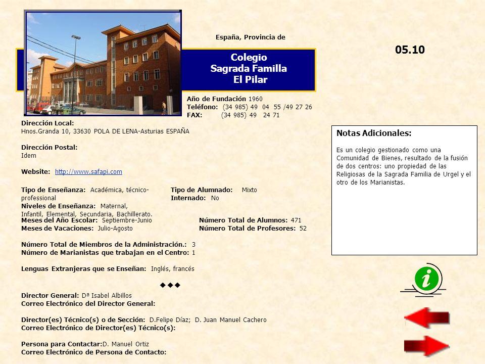 05.10 Colegio Sagrada Familla El Pilar  Notas Adicionales: