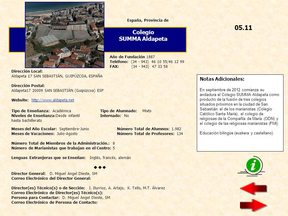 05.11 Colegio SUMMA Aldapeta  Notas Adicionales: