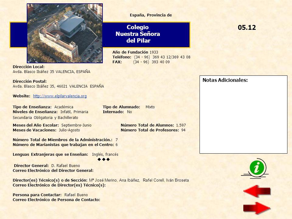 05.12 Colegio Nuestra Señora del Pilar  Notas Adicionales: